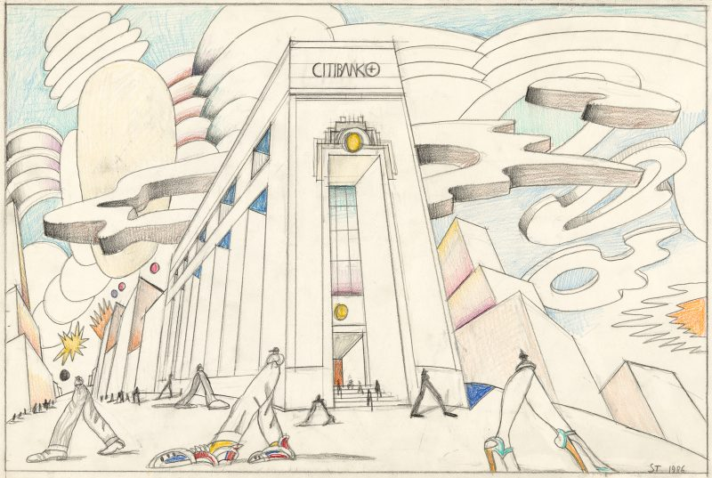 Saul Steinberg: Untitled (Citibank), 1986.
