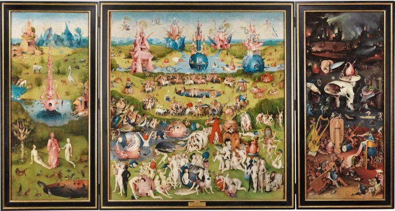 El Bosco: Tríptico del jardín de las delicias. 1490 - 1500. Grisalla, Óleo sobre tabla de madera de roble