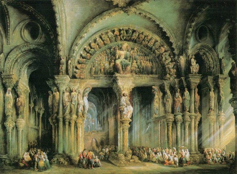 Jenaro Pérez Villaamil: El Pórtico de la Gloria de la catedral de Santiago de Compostela, ca. 1850. Óleo sobre lienzo, 133 x 182 cm. Patrimonio Nacional. Madrid, Palacio Real (Inv. 10055399)