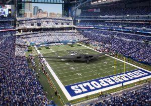 Un bombardero B2 (52 metros de envergadura) en un campo de fútbol de la NFL.