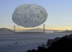 Dionysus es un asteroide que forma parte de los asteroides Apolo. Tines 1'5 Km. de diámetro y aquí lo vemos sobre el Puente Golden Gate (Bahía de San Francisco, EEUU).