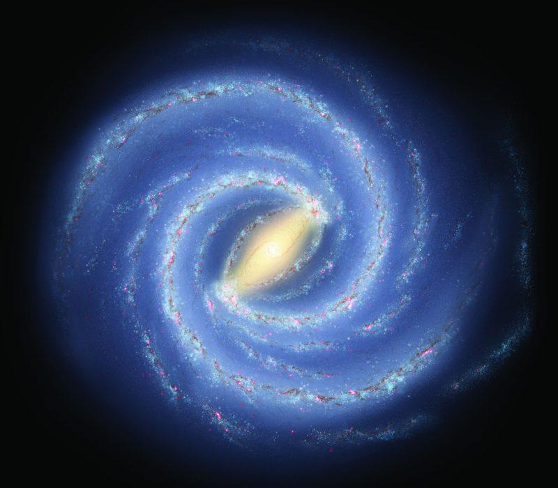 Recreación artística de la estructura espiral de nuestra galaxia, la Vía Láctea. Crédito: NASA / JPL-Caltech / R. Daño (SSC / Caltech)
