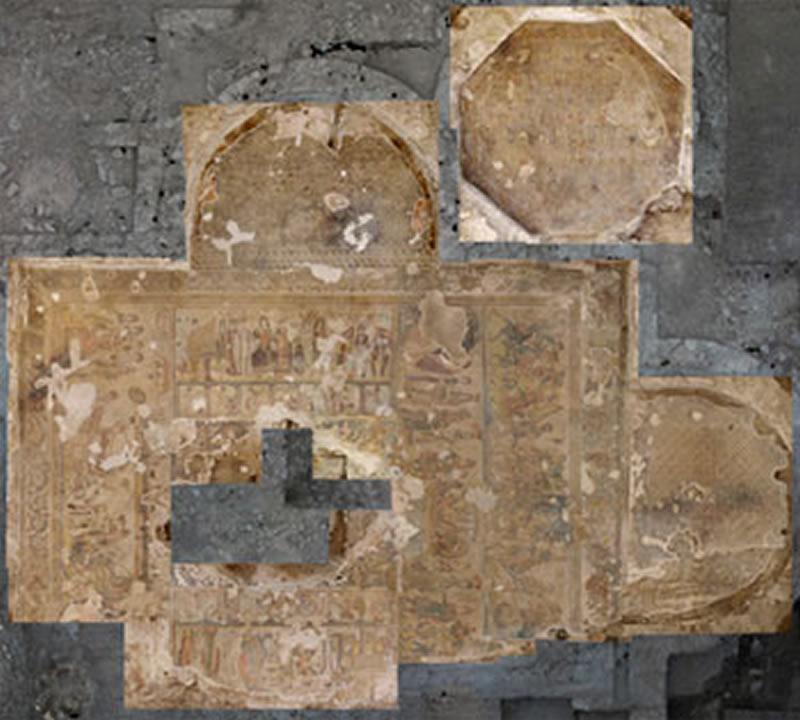 Vista cenital de los mosaicos de la Sala Tríabsidada y Octogonal.