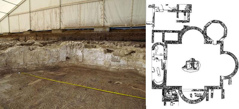 Estucos de la Sala Octogonal. (izquierda). Planta de la Sala Triabsidada, Sala Octogonal y anejas. (derecha)