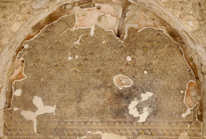 Vista cenital del mosaico de la exedra norte.
