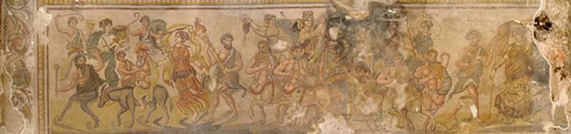 Escena A que representa el cortejo Dionisíaco.