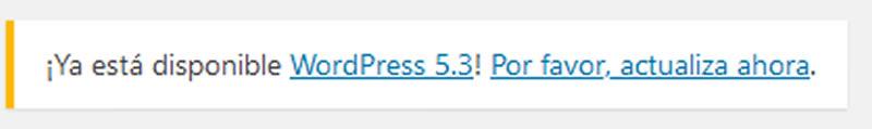 Ocultar aviso actualización WordPress