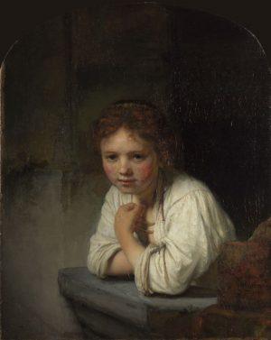 Rembrandt van Rijn_Chica en la ventana
