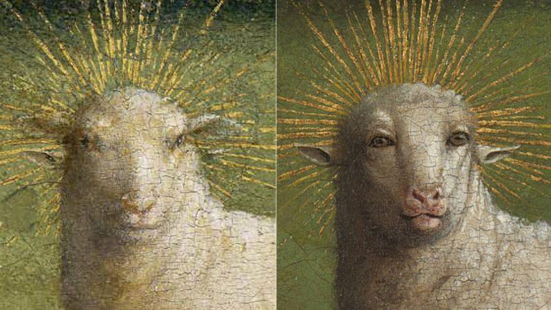 El antes y el después del cordero de Van Eyck. Saint-Bavo's Cathedral Ghent © Lukasweb.be-Art in Flanders vzw, photo KIK-IRPA