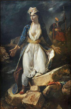 Eugène Delacroix (1798–1863): Grecia en las ruinas de Missolonghi (1826)