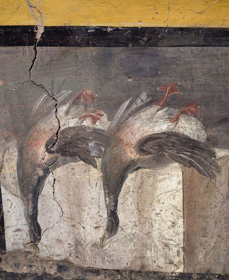 Dos aves dibujadas en uno de los muros
