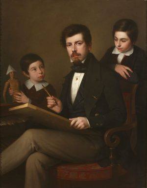 Antonio María Esquivel y Suárez de Urbina (1806-1857): Autorretrato con sus hijos Carlos y Vicente (1843).