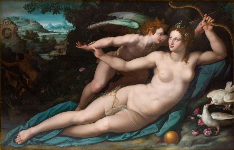 Alessandro Allori: Venus y Cupido (h. 1570-80). Óleo sobre tabla, 143 x 226,5 x 14 cm. Musée Fabre, Montpellier.