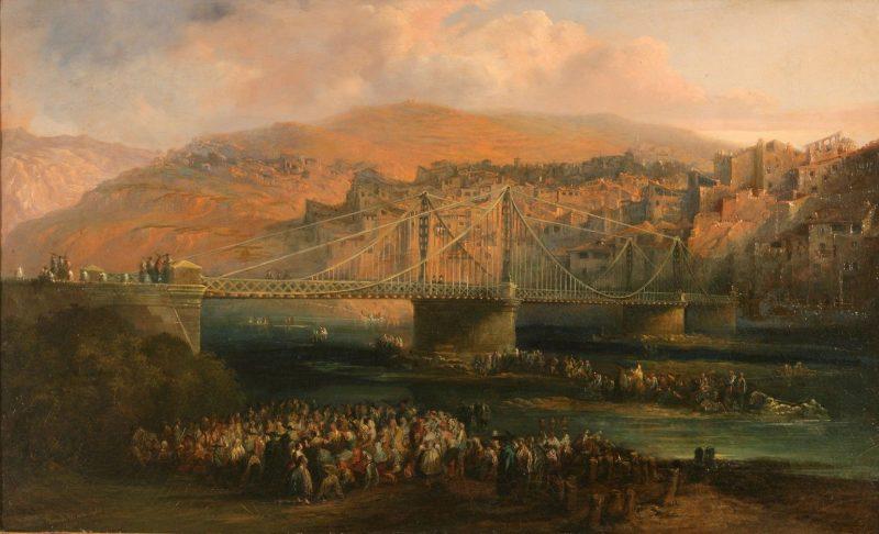 Genaro Pérez Villaamil y Duguet (1807-1854): Vista de la ciudad de Fraga y su puente colgante, 1850.