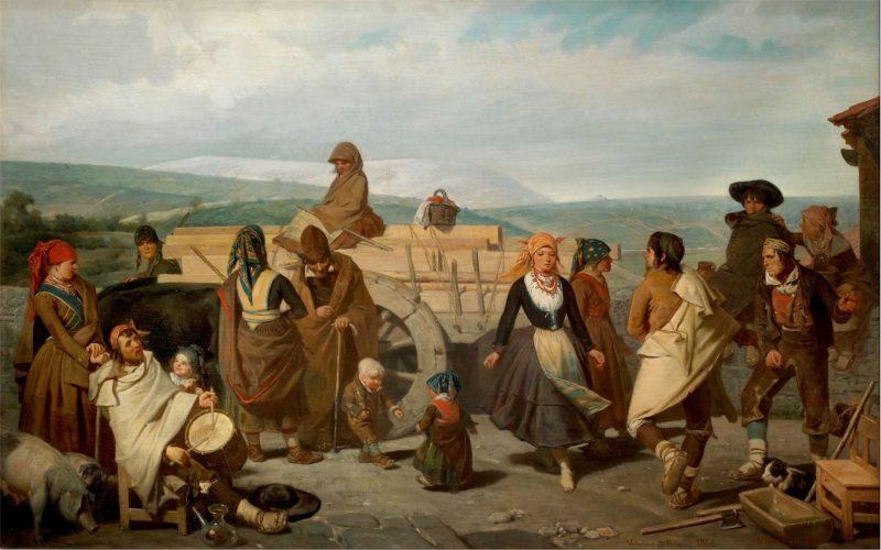 Valeriano Domínguez Bécquer (1833-1870): El baile. Costumbres populares de la provincia de Soria. 1866. Óleo sobre lienzo. 65 x 101 cm. Museo del Prado (P004234).