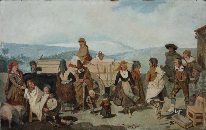 Valeriano Domínguez Bécquer (1833-1870): El baile (boceto), 1866. Óleo sobre tabla. 22,50 x 35,50 cm. Museo del Romanticismo (CE1916).