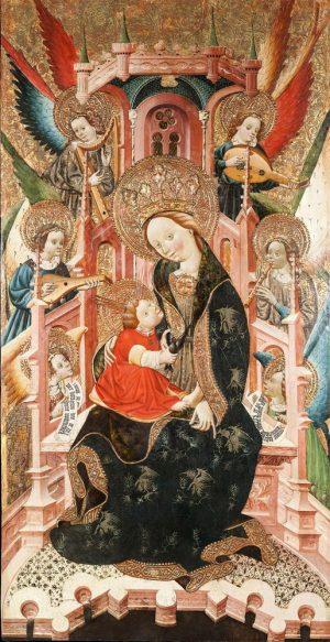 Grañén, Blasco de. Maestro de Lanaja. (?, f. s. XIV – Zaragoza, 1459): Virgen entronizada con el Niño y rodeada de ángeles músicos