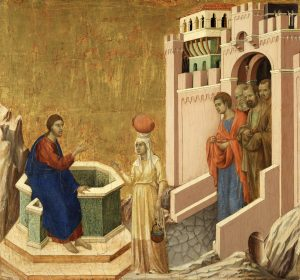 Duccio di Buoninsegna (Activo en 1278 - Siena, antes del 3 de agosto de 1319): Cristo y la samaritana, 1310-1311.