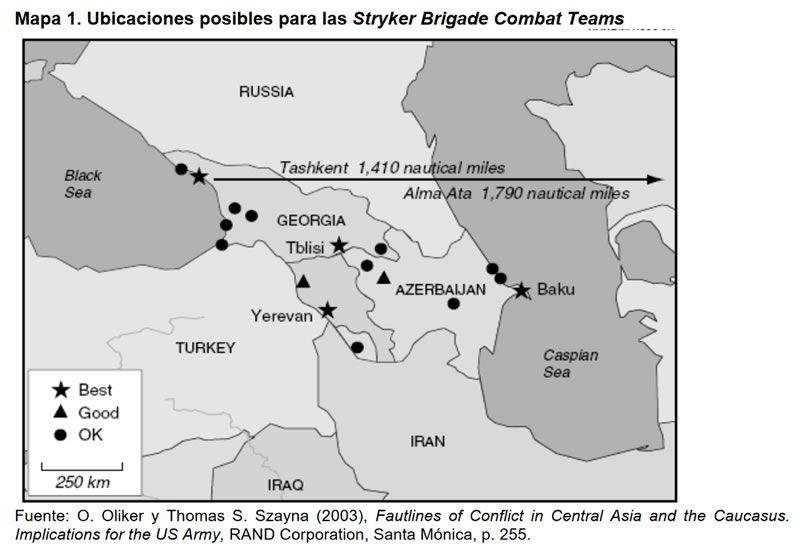 Mapa 1. Ubicaciones posibles para las Stryker Brigade Combat Teams