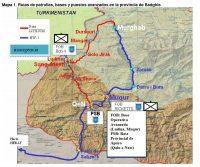 Mapa 1. Rutas de patrullas, bases y puestos avanzados en la provincia de Badghis