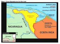 Mapa 1. Zona disputada en el río San Juan