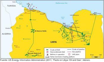 Mapa 1. Infraestructuras de gas y petróleo en Libia