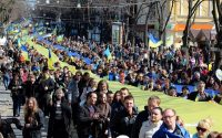 A rally against the annexation of Crimea in Odessa, March 30, 2014. (Yevgeny Volokin / Courtesy Reuters)