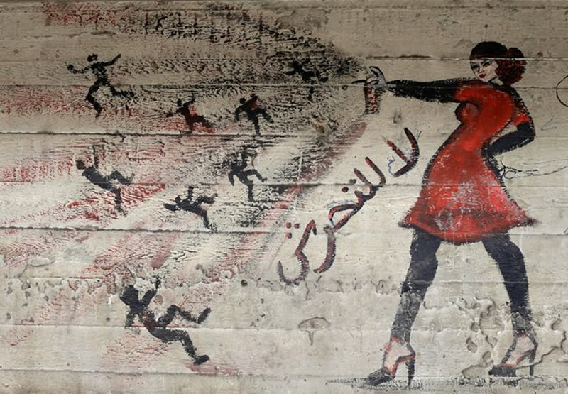 A mural on a wall in Cairo read ''no harassment,'' in Arabic. Credit Hassan Ammar/Associated Press Photo