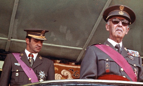 Prince Juan Carlos (left) and General Franco in 1974. 'To some … the whole thing was a sham – the continuation of the dictatorship under a new name.' Photograph: Rex Features