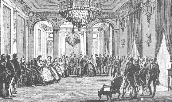 Abdicación de la reina Isabel II, desterrada en París, en favor de su hijo Alfonso XII el 25 de junio de 1870, según un grabado publicado en 'La Ilustración Española y Americana'.