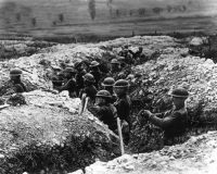United States Army troops stand in the trenches in France during World War I. (Associated Press)