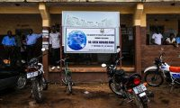 A banner mourning Dr Sheik Humarr Khan, the late top doctor in Sierra Leone's fight against Ebola. Photograph: Meng Chenguang/Xinhua Press/Corbis