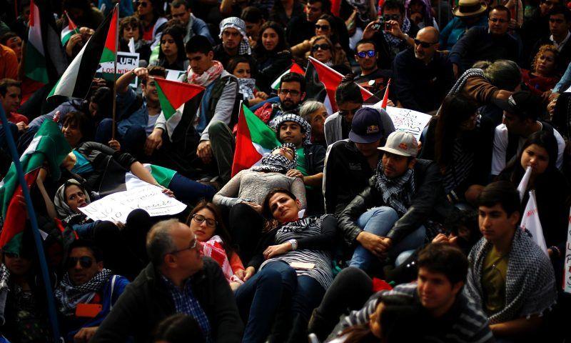A rally for peace in Gaza, in Santiago, Chile. Photograph: Ivan Alvarado/Reuters