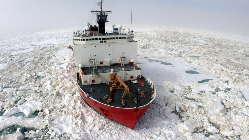 In a photo provided by the U.S. Coast Guard, the Coast Guard Cutter Healy breaks ice to support scientific research in the Arctic Ocean near Barrow, Alaska, Saturday, July 22, 2006. Lt. Jessica Hill and Boatswain's Mate Steven Duque both died on Aug. 17, 2006 while taking part in a training dive in Arctic waters near the boat. (Prentice Danner/U.S. Coast Guard via AP)