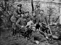 Adolf Hitler, seated on the far right, with members of the 16th Bavarian Reserve Infantry Regiment during World War I. Credit Collection Roger-Viollet, via Agence France-Presse.