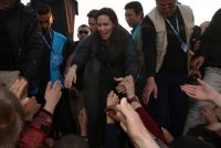 Angelina Jolie at a refugee camp in Iraq's Dohuk province on Jan. 25. Credit Safin Hamed/Agence France-Presse — Getty Images