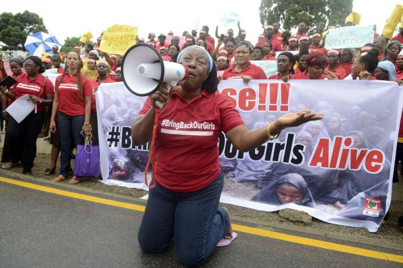 Patience Ozokwor, aka Mama G, pleads for the release of the more than 200 abducted Chibok school girls in Lagos during a demonstration by civil society groups. (Pius Utomi Ekpei / AFP/Getty Images)