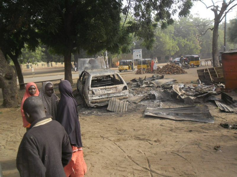 The scene of an attack by two female suicide bombers on a mobile phone market in Potiskum earlier this month. Credit Adamu Adamu/Associated Press