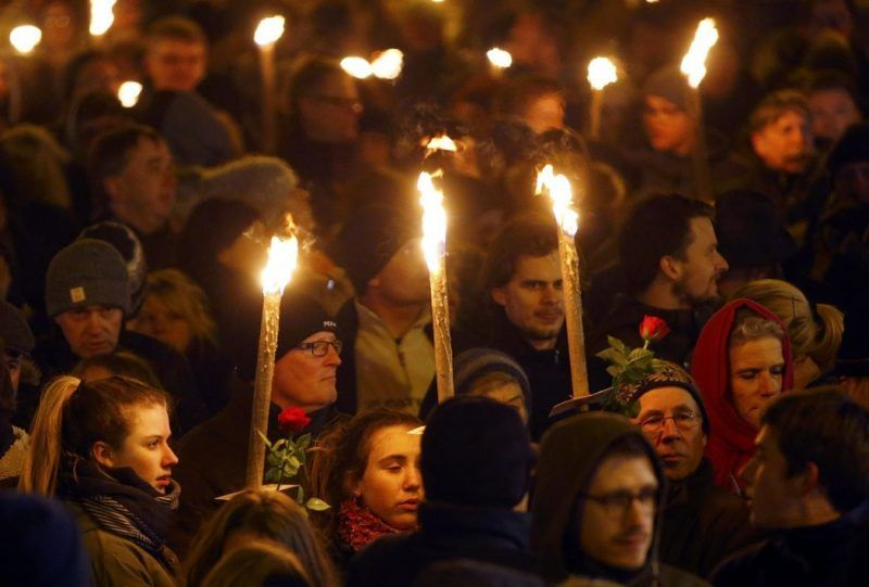 A memorial service on Feb. 16 in Copenhagen for the victims of attacks on a synagogue and an event promoting freedom of expression. Credit Leonhard Foeger/Reuters