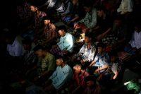 Students praying at an Islamic boarding school in Medan, North Sumatra, Indonesia. Credit Binsar Bakkara/Associated Press
