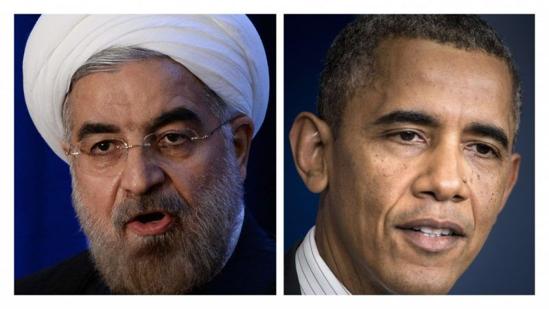 TThese two photographs show Iranian President Hassan Rouhani (L) on September 26, 2013 during an Asia Society event on the sidelines of the 68th United Nations General Assembly in New York; and US President Barack Obama (R) during a media briefing on September 27, 2013. (-/AFP/Getty Images)