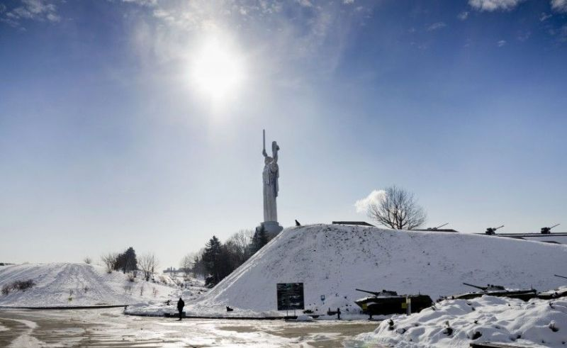 A visitor walks through a memorial park that is part of a World War II museum complex in Kiev, Ukraine. (Efrem Lukatsky / Associated Press)