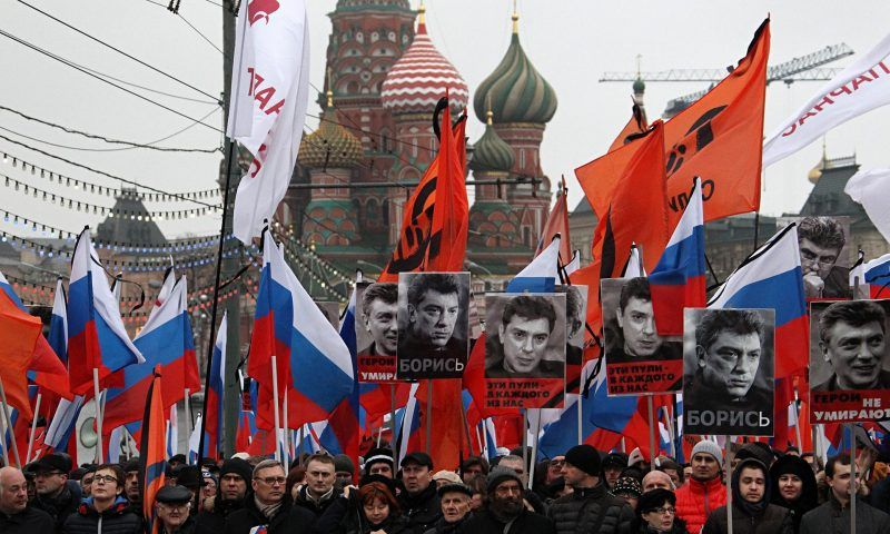 More than 100,000 people rallied to mourn Boris in Moscow on Sunday … Tell these people, and the millions too afraid to march, that they have a choice. Photograph: Sasha Mordovets/Getty Images