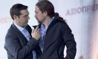 Podemos leader Pablo Iglesias (right) with Syriza's Alex Tsipras. 'The latest polls show four parties practically tied for the first position in the next general election.' Photograph: Luigi Mistrulli/Sipa/ex