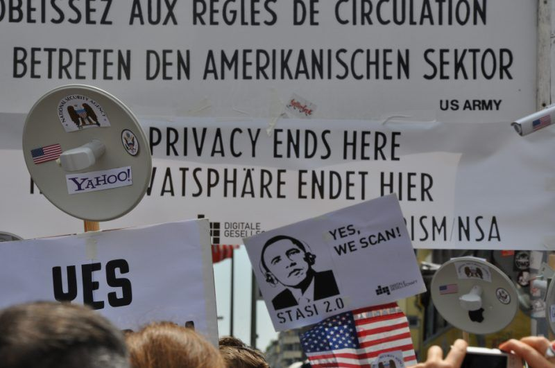 Demonstration in Germany against NSA mass surveillence. June 2013