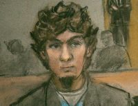 A courtroom sketch of Dzhokhar Tsarnaev as the verdict was read on Wednesday. Credit Jane Flavell Collins/Reuters