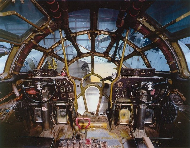 The cockpit of the Enola Gay. Credit National Air and Space Museum, Smithsonian Institution