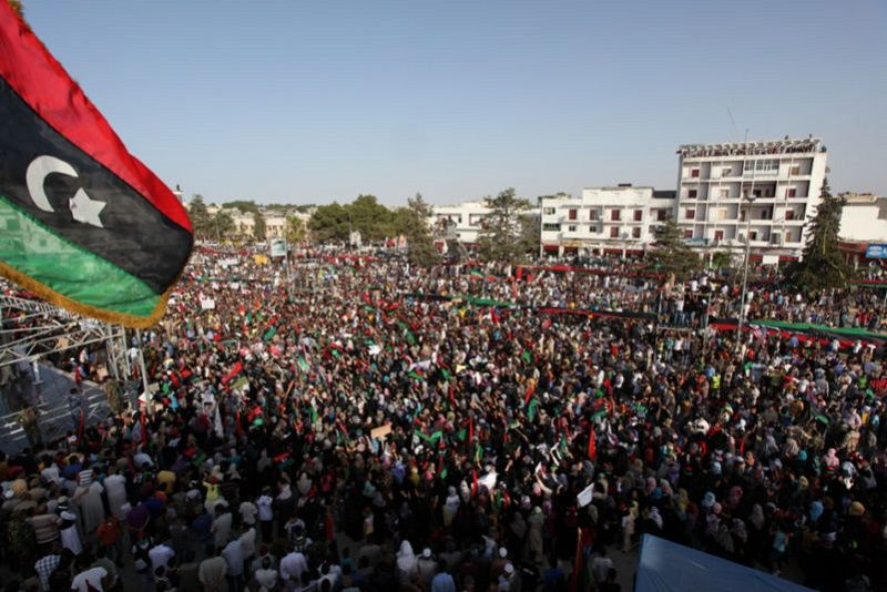 Demonstrations in Bayda, Libya during the 2011 Revolution.