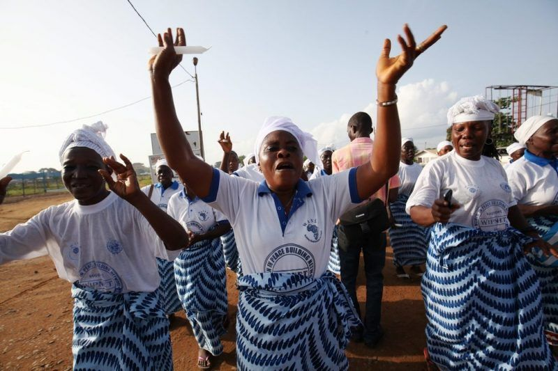 Celebrations erupted Saturday in Monrovia after Liberia was declared Ebola-free. Credit Ahmed Jallanzo/European Pressphoto Agency