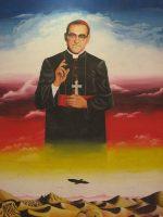 Mural de Óscar Romero en la Facultad de Jurisprudencia y Ciencias Sociales de la Universidad de El Salvador.